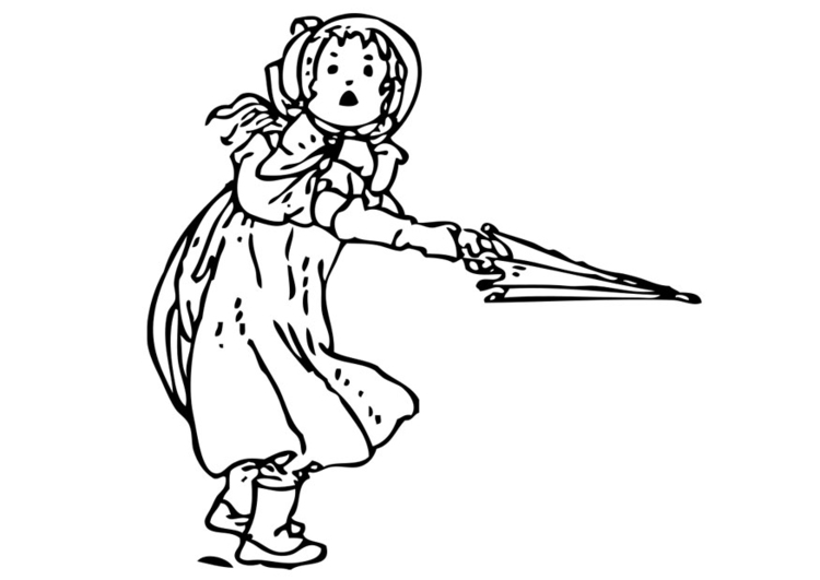 Coloring page girl with umbrella