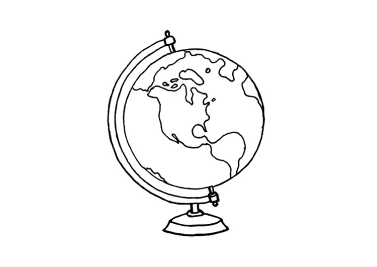 Coloring page globe  img 14341