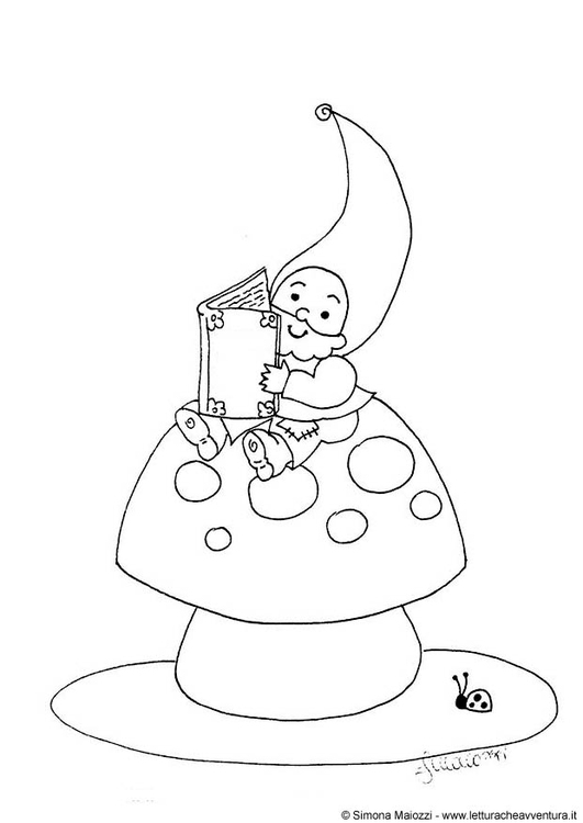 Coloring page gnome