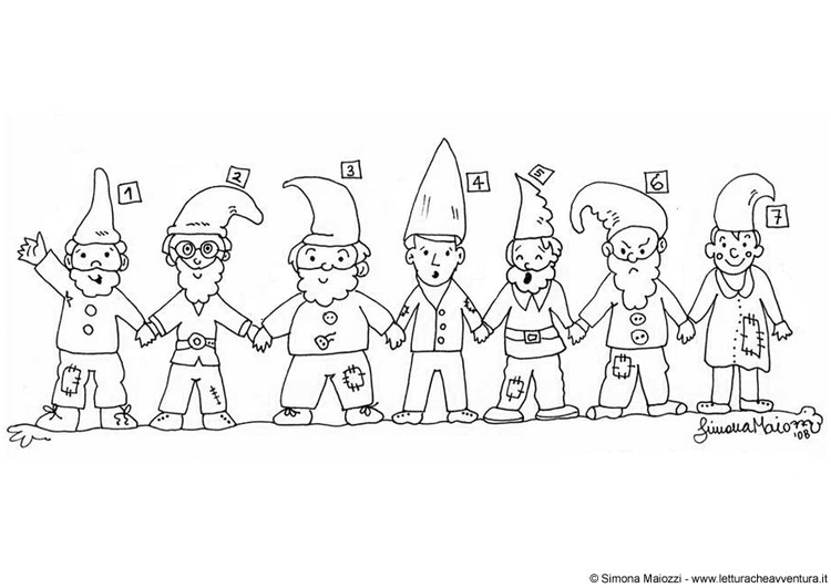 Coloring page gnomes 1 - 7