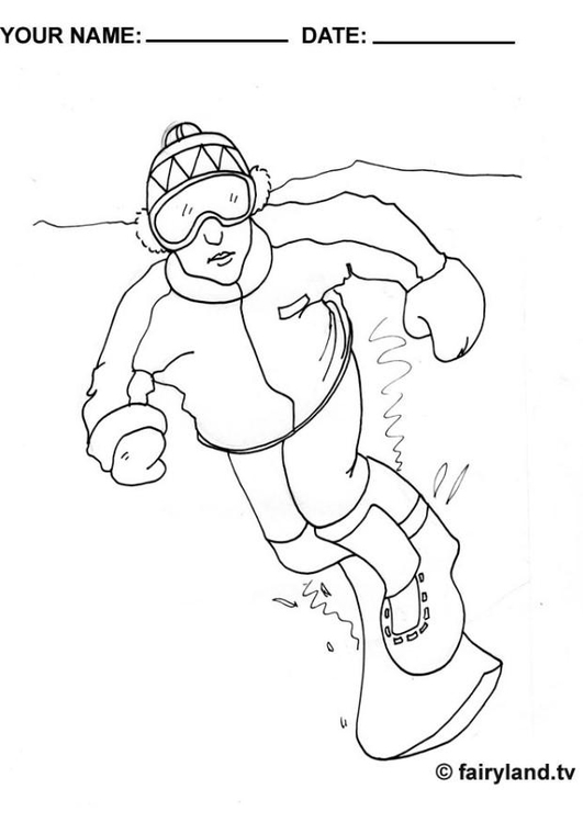 Coloring page go snowboarding