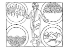 Coloring page God and the 4 elements