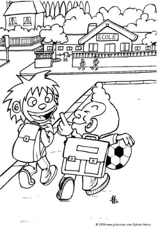 Coloring page going to school