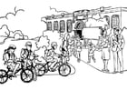 Coloring page going to school - primary school