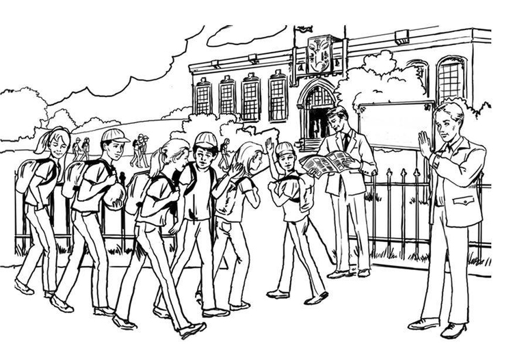 Coloring page going to school - secondary education