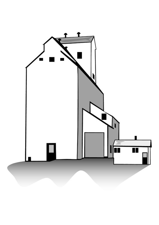 Coloring page grain warehouse