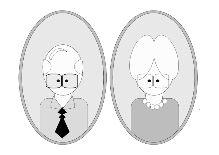 Coloring page grandfather and grandmother