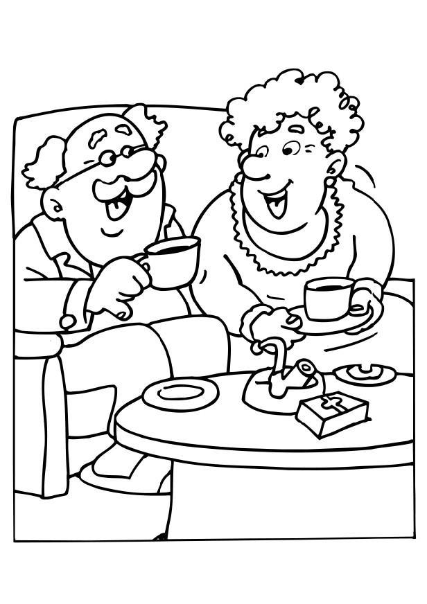 Coloring page Grandma and Grandpa