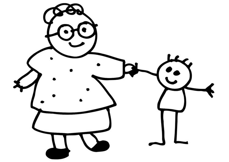 Coloring page grandmother and child
