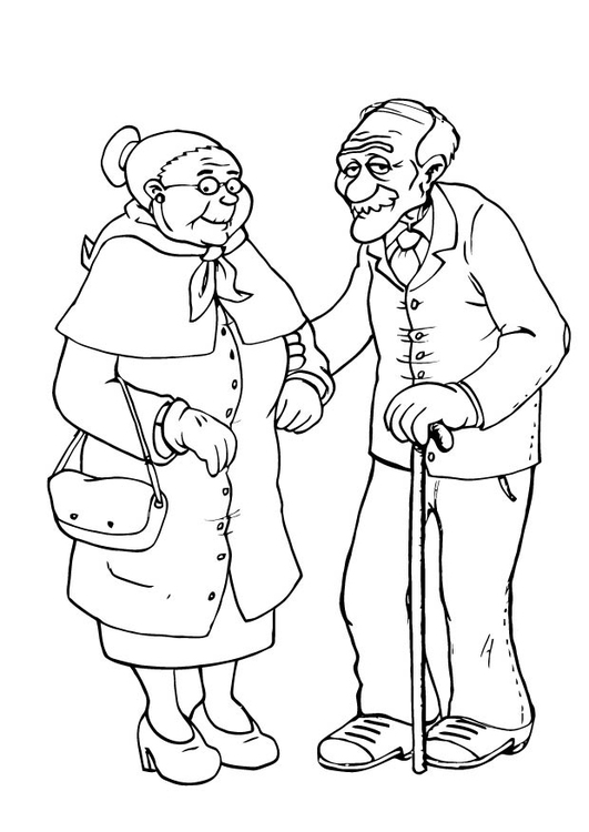 Coloring Page Grandmother And Grandfather Img 23105