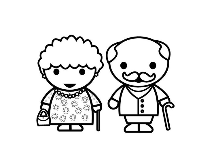 Coloring page grandmother and grandfather