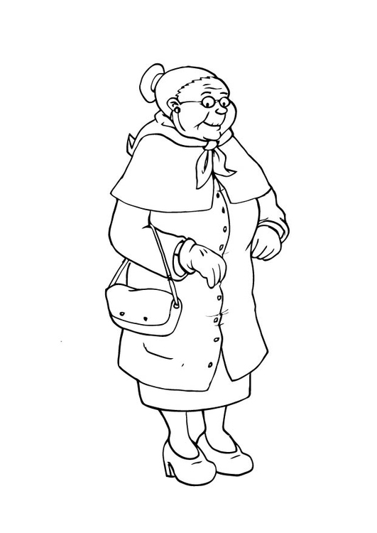 Coloring page grandmother