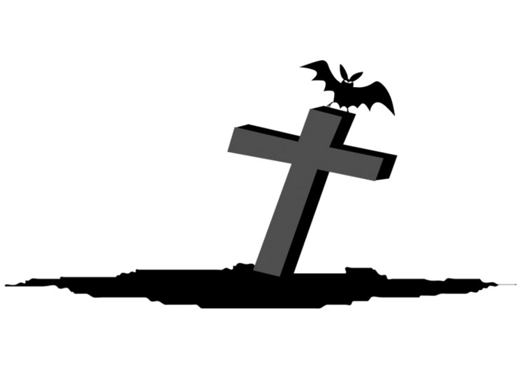 Coloring page grave with bat