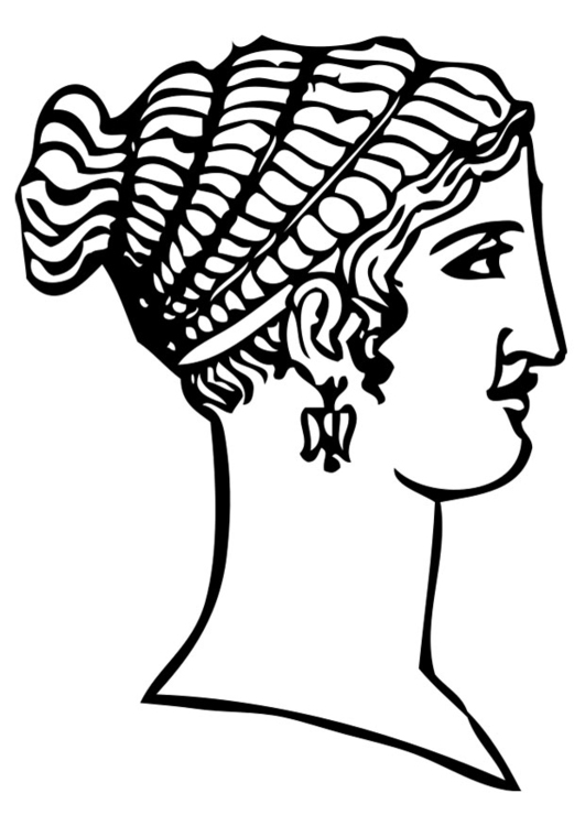 Coloring page Greek haircut
