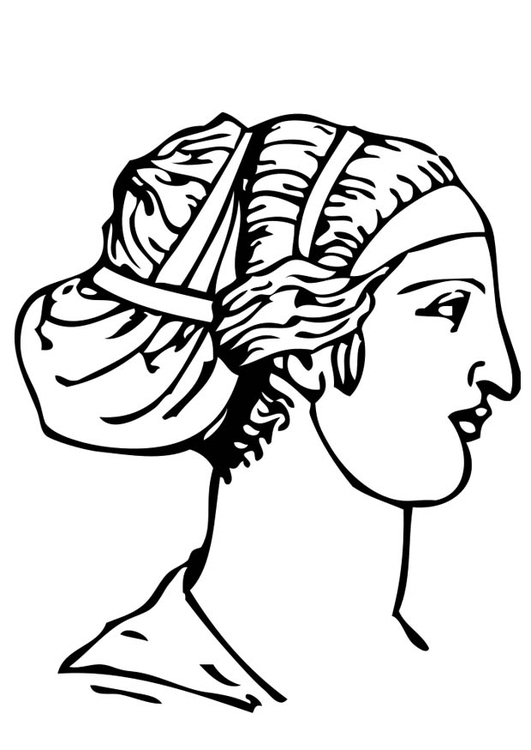 Coloring page Greek Hairstyle
