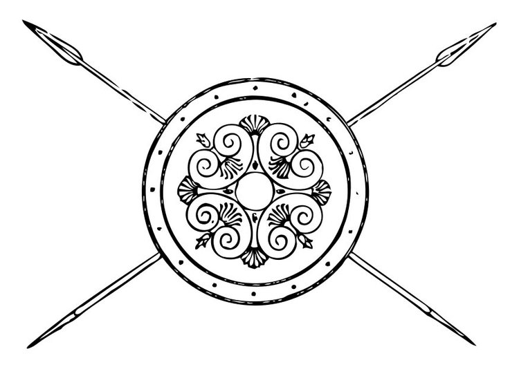 Coloring page Greek Spear and Shield