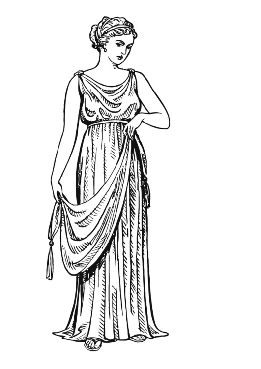 Coloring page greek woman with chiton