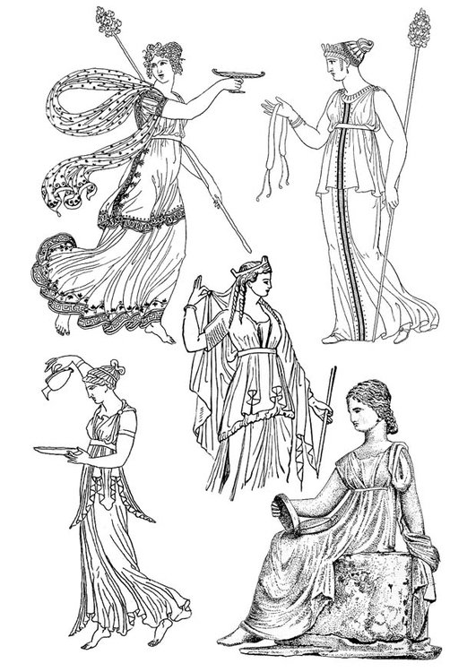 Coloring page Greek women