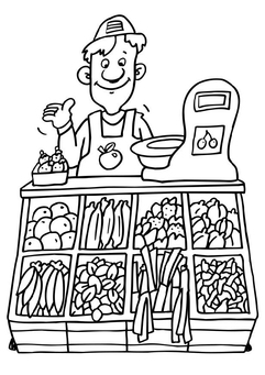 Coloring page greengrocer