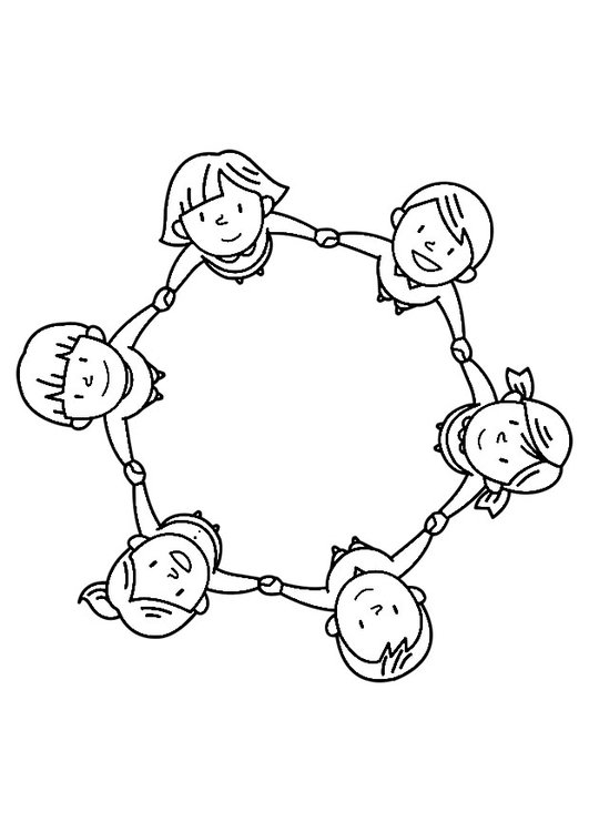 Coloring page group of children