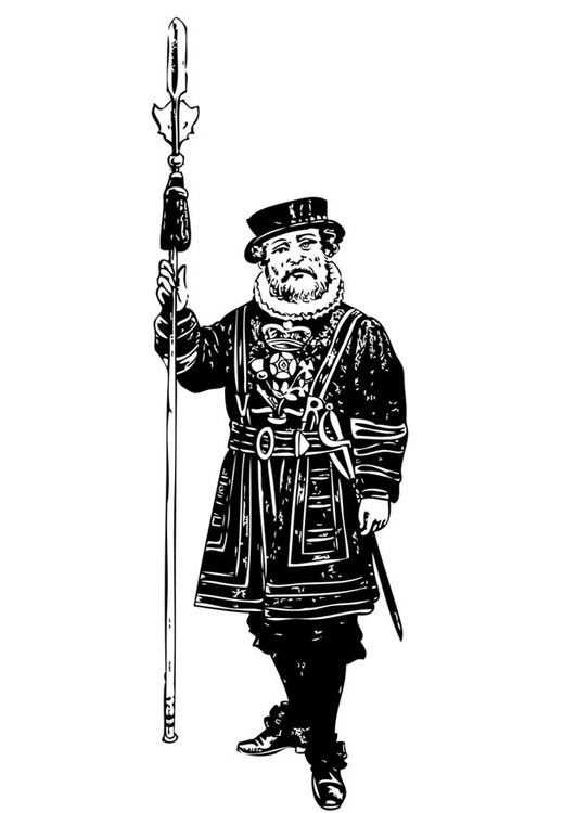 Coloring page guard - tower of London