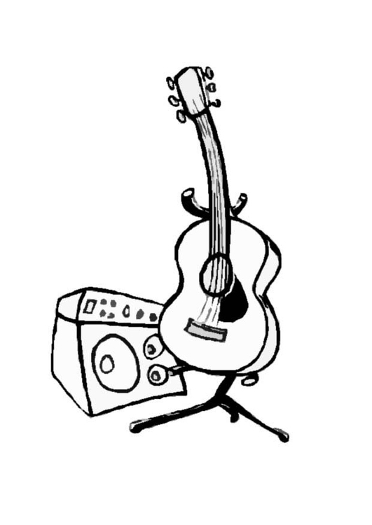 Coloring Page Guitar And Amp