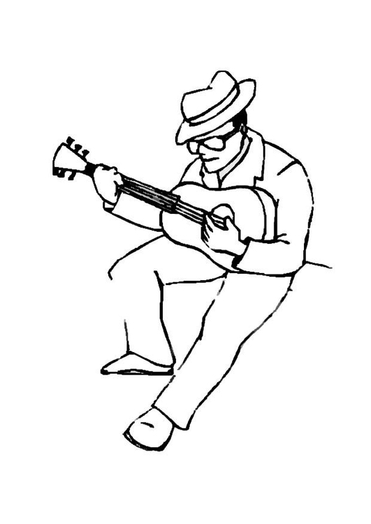 Coloring page guitar player