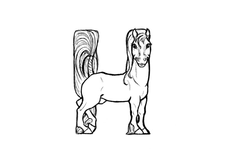Coloring page h-horse