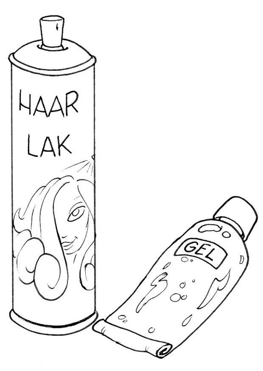 Coloring page hairstyling gel and spray