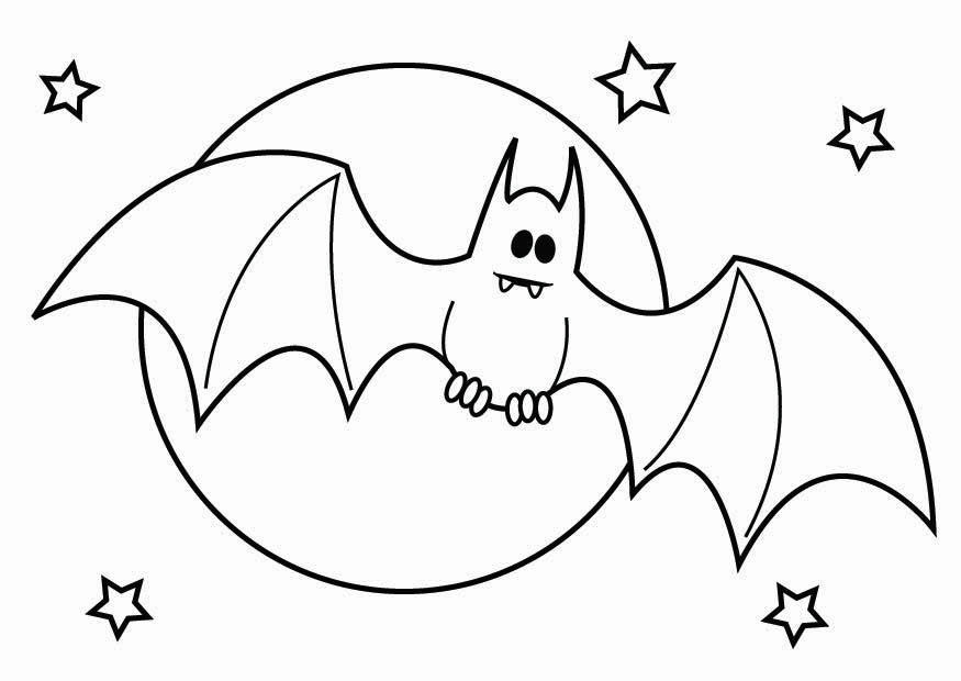 Coloring page Halloween bat - img 26436. Kids Halloween Clipart Black And White
