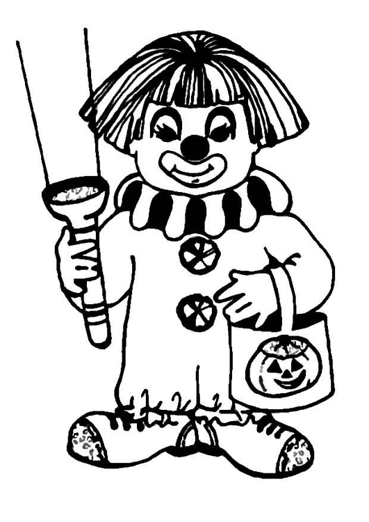 Coloring page halloween clown