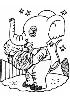 Coloring page halloween elephant