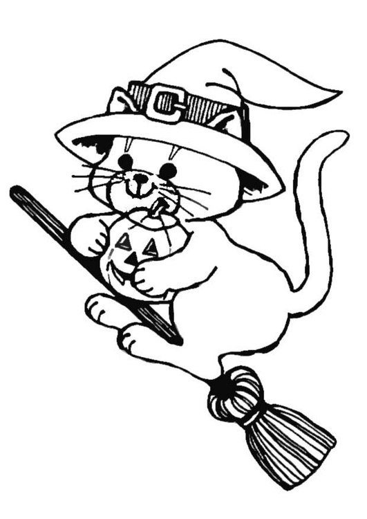 Coloring page halloween flying cat