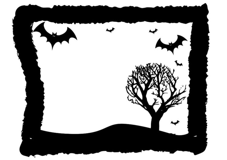 Coloring page Halloween frame