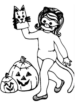 Coloring page halloween girl