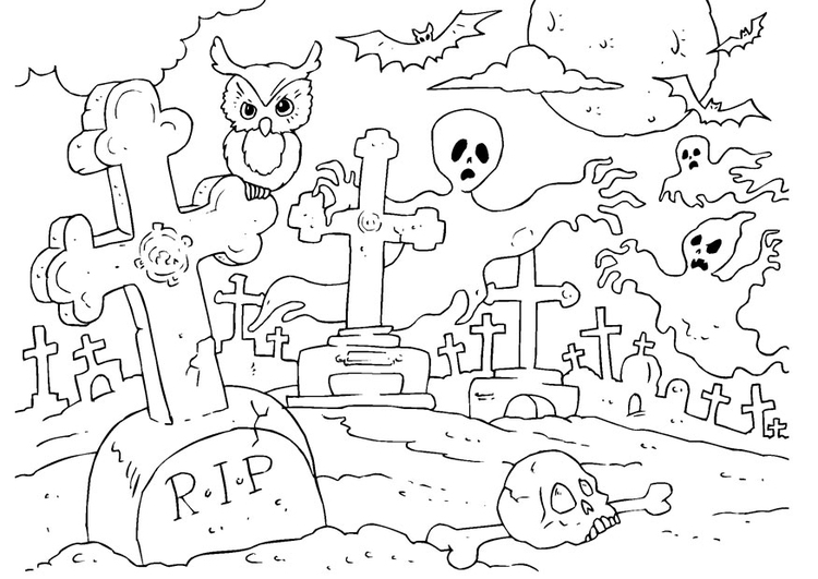 Coloring page Halloween graveyard - img 22989.