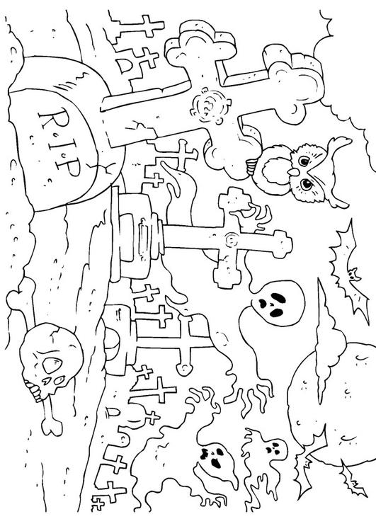 halloween graveyard coloring pages - photo#17