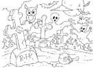 Coloring page Halloween graveyard