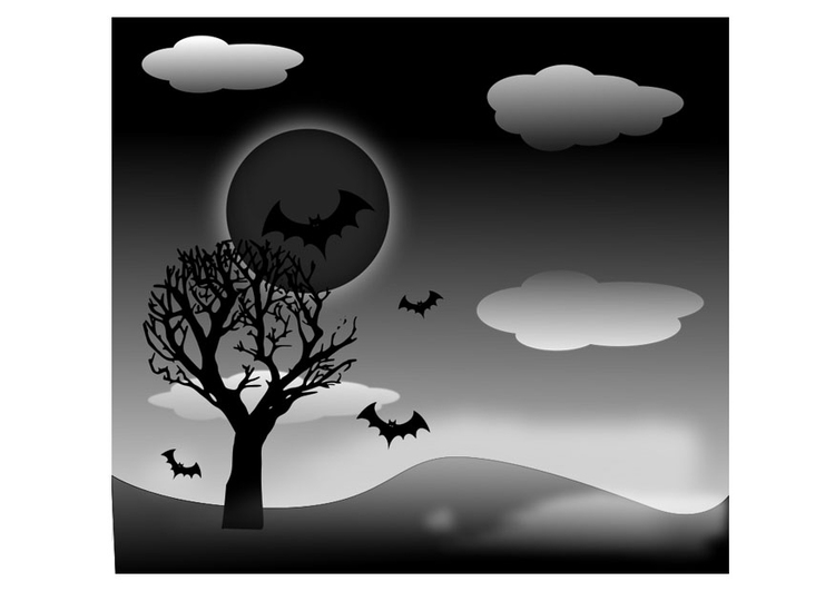 Coloring page Halloween landscape