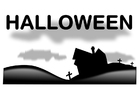 Coloring pages Halloween landscape