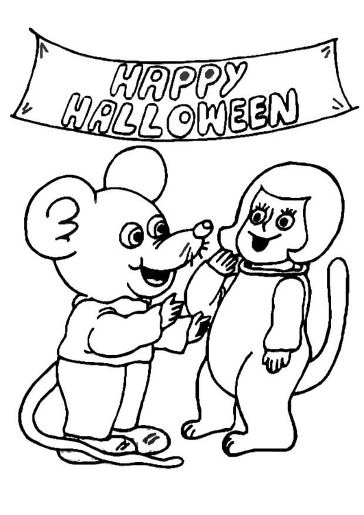 Coloring page halloween party