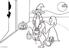 Coloring page halloween trick or treat