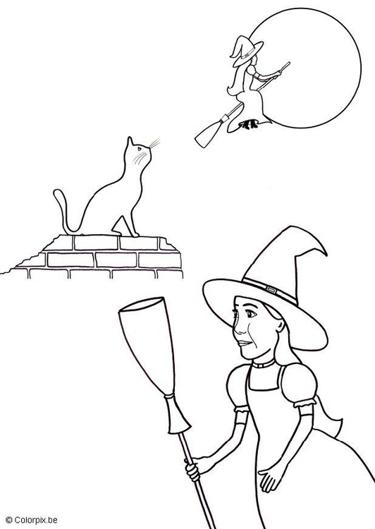 Coloring page halloween witch