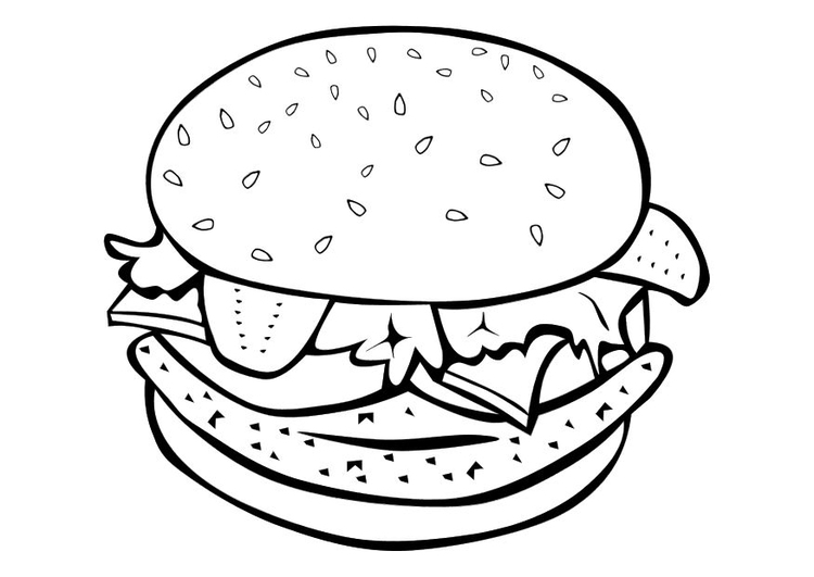 Coloring page hamburger