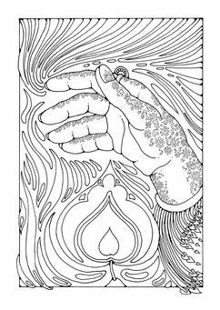 Coloring page hand over flame