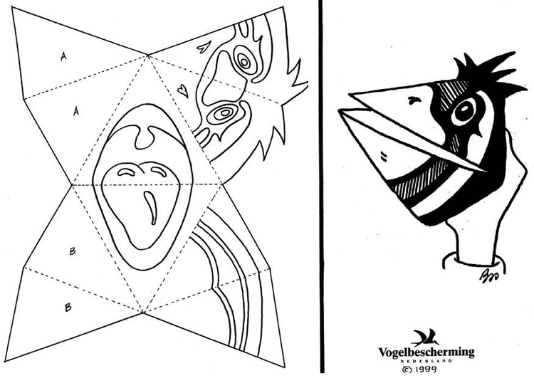 Coloring page handmask bird without text