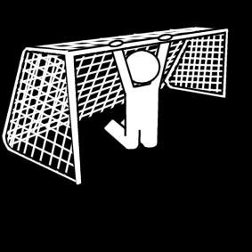Coloring page hanging from the goal post
