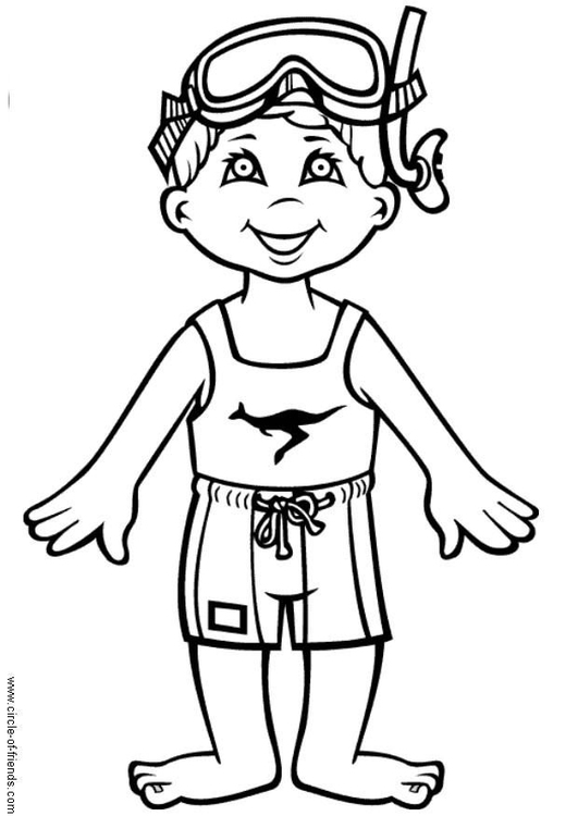 Coloring page Hans goes swimming