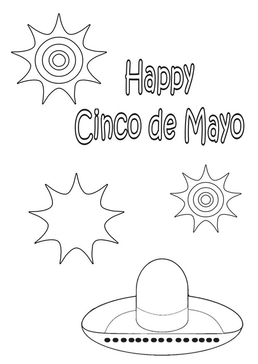 Coloring page happy Cinco de Mayo