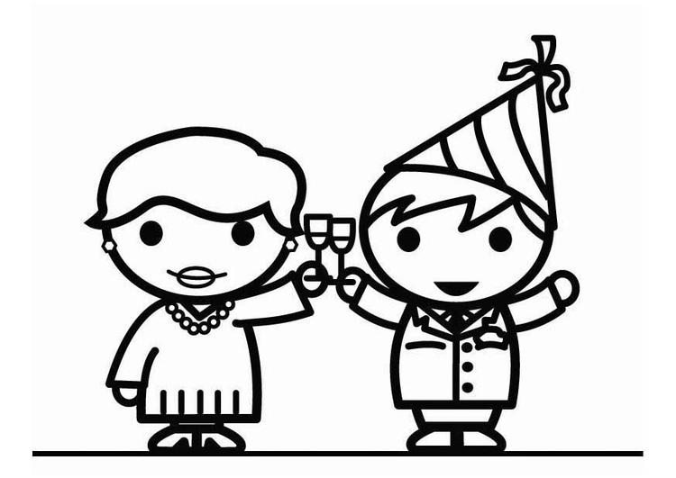 Coloring page Happy New Year !